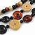 3 Strand Black/ Brown/ Neutral Round, Button Wooden Beads Necklace - 70cm - view 3