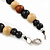 3 Strand Black/ Brown/ Neutral Round, Button Wooden Beads Necklace - 70cm - view 5