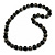 Long Chunky Black Wood Bead Necklace - 84cm L