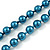 Long Teal Glass Bead Necklace - 140cm Length/ 8mm - view 7
