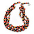 3 Strand Brick Red/ Brown Shell Nugget and Black Crystal Bead Necklace with Silver Tone Spring Ring Closure - 66cm L