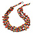 3 Strand Brick Red/ Mustard Brown Shell Nugget and Crystal Bead Necklace with Silver Tone Spring Ring Closure - 66cm L