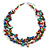 3 Strand Multicoloured Shell Nugget and Crystal Bead Necklace with Silver Tone Spring Ring Closure - 52cm L/ 5cm Ext - view 5