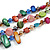 3 Strand Multicoloured Shell Nugget and Crystal Bead Necklace with Silver Tone Spring Ring Closure - 52cm L/ 5cm Ext - view 6