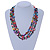 3 Strand Multicoloured Shell Nugget and Crystal Bead Necklace with Silver Tone Spring Ring Closure - 52cm L/ 5cm Ext - view 4
