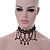Black Lace Chain with Crystal Bead Victorian/ Gothic/ Burlesque Choker Necklace - 33cm L/ 7cm Ext - view 3