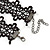 Black Lace Chain with Crystal Bead Victorian/ Gothic/ Burlesque Choker Necklace - 33cm L/ 7cm Ext - view 6