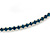 Thin Teal Blue Top Grade Austrian Crystal Choker Necklace In Rhodium Plated Metal - 36cm L/ 10cm Ext - view 3