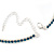 Thin Teal Blue Top Grade Austrian Crystal Choker Necklace In Rhodium Plated Metal - 36cm L/ 10cm Ext - view 4