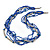 Multistrand Electric Blue/ Silver Glass Bead Necklace - 90cm L - view 5