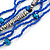 Multistrand Electric Blue/ Silver Glass Bead Necklace - 90cm L - view 3