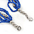 Multistrand Electric Blue/ Silver Glass Bead Necklace - 90cm L - view 4