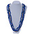 Multistrand Electric Blue/ Silver Glass Bead Necklace - 90cm L - view 2