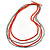 4 Strand Multilayered Salmon/ Coral Ceramic and Silver Tone Acrylic Bead Necklace - 90cm L