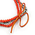 4 Strand Multilayered Salmon/ Coral Ceramic and Silver Tone Acrylic Bead Necklace - 90cm L - view 4