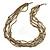 Multistrand Bronze/ Silver Glass Bead Necklace - 90cm L