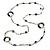 Long Single Strand Glass Bead Necklace (Balckt/ Transparent/ Hematite/ White) - 124cm L