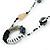 Long Single Strand Glass Bead Necklace (Balckt/ Transparent/ Hematite/ White) - 124cm L - view 3