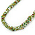 Long Multistrand Twisted Glass Bead Necklace (Mint Green, Olive, White) - 110cm L - view 6