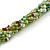 Long Multistrand Twisted Glass Bead Necklace (Mint Green, Olive, White) - 110cm L - view 3