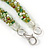 Long Multistrand Twisted Glass Bead Necklace (Mint Green, Olive, White) - 110cm L - view 5