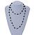 Long Single Strand Glass Bead Neckalce (Black, Light Grey, Bronze) - 106cm L - view 2