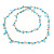 Ligth Blue Ceramic Bead, Pale Blue Glass Nugget Orange Cotton Cord Long Necklace - 96cm L - view 7