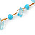 Ligth Blue Ceramic Bead, Pale Blue Glass Nugget Orange Cotton Cord Long Necklace - 96cm L - view 4