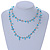 Ligth Blue Ceramic Bead, Pale Blue Glass Nugget Orange Cotton Cord Long Necklace - 96cm L - view 2
