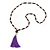 Long Plum Glass Bead Necklace with Purple Silk Tassel - 82cm L/ 12cm Tassel