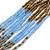 Bronze/ Plum/ Light Blue/ Peacock Small Glass Bead Multistrand Necklace - 48cm L - view 4