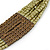 Olive, Bronze Acrylic Bead Multistrand Necklace - 56cm L - view 3