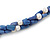 3 Strand Intertwine Dye Blue Coral, White Freshwater Pearl Necklace With Silver Tone Spring Ring Closure - 47cm L - view 3