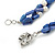 3 Strand Intertwine Dye Blue Coral, White Freshwater Pearl Necklace With Silver Tone Spring Ring Closure - 47cm L - view 5