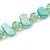 Long Pastel Mint Green/ Transparent Shell Nugget and Glass Crystal Bead Necklace - 110cm L - view 3