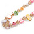 Long Pastel Multicoloured Shell Nugget and Glass Crystal Bead Necklace - 110cm L - view 3