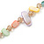 Long Pastel Multicoloured Shell Nugget and Glass Crystal Bead Necklace - 110cm L - view 6