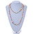 Long Pastel Multicoloured Shell Nugget and Glass Crystal Bead Necklace - 110cm L - view 2