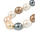 15mm Simulated Pastel Oval Glass Pearl Bead Necklace with Silver Tone Spring Ring Closure - 42cm L - view 3