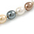 15mm Simulated Pastel Oval Glass Pearl Bead Necklace with Silver Tone Spring Ring Closure - 42cm L - view 6