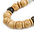 Chunky Natural Wood Bead with Black Faux Leather Cord Necklace - 70cm L - view 3