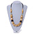 Chunky Natural Wood Bead with Black Faux Leather Cord Necklace - 70cm L - view 2