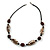 Animal Print Shell Componets and Brown/Black Ceramic Beads with Black Faux Leather Cord - 64cm L - view 6