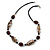 Animal Print Shell Componets and Brown/Black Ceramic Beads with Black Faux Leather Cord - 64cm L