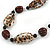 Animal Print Shell Componets and Brown/Black Ceramic Beads with Black Faux Leather Cord - 64cm L - view 3