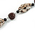 Animal Print Shell Componets and Brown/Black Ceramic Beads with Black Faux Leather Cord - 64cm L - view 4
