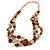 Long Multistrand Orange/ Brown Shell Necklace with Orange Cotton Cords - 84cm L - view 6