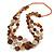 Long Multistrand Orange/ Brown Shell Necklace with Orange Cotton Cords - 84cm L
