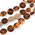 Long Multistrand Orange/ Brown Shell Necklace with Orange Cotton Cords - 84cm L - view 3