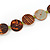 Long Multistrand Orange/ Brown Shell Necklace with Orange Cotton Cords - 84cm L - view 5